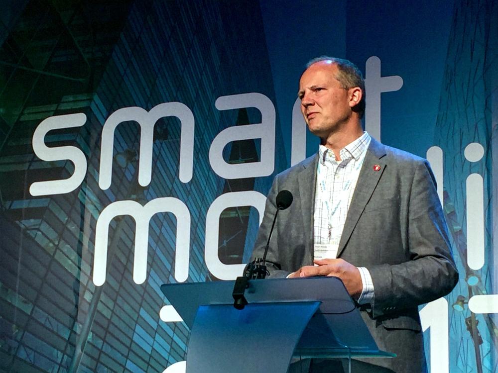Samferdselsminister Ketil Solvik-Olsen på konferansen Smart Mobility i Lillestrøm